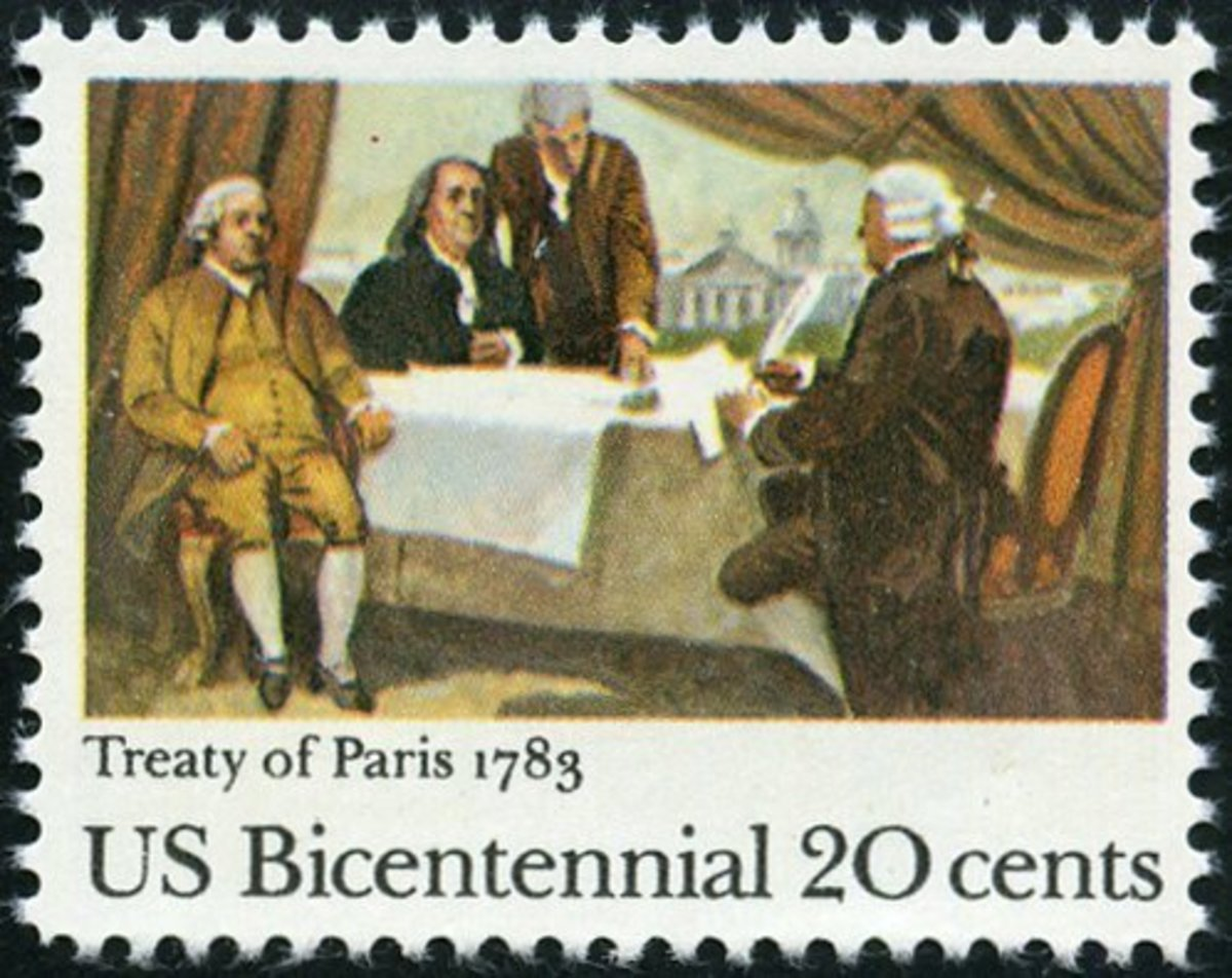 1983 20-cent postage stamp issued to honor the 200th anniversary of the signing of the Treaty of Paris that ended the Revolutionary War.