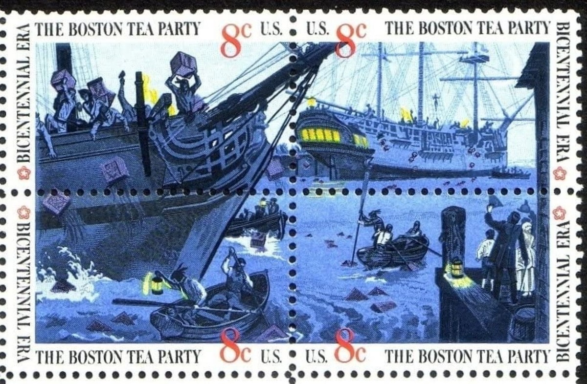 Block of four 1973 eight-cent stamps depicting the Boston Tea Party.