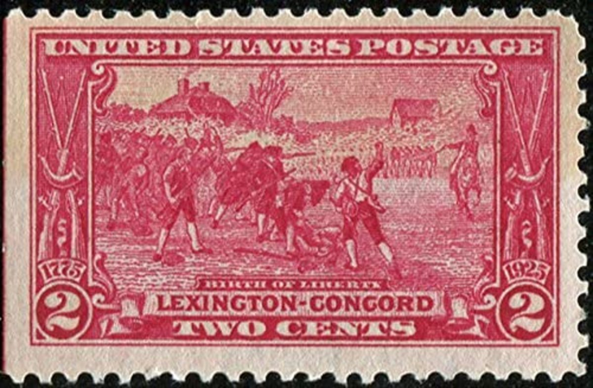 "1925 two-cent stamp ""Birth of a Nation."" The stamp was issued as part of a three-stamp set to commemorate the sesquicentennial of the battle of Lexington and Concord."