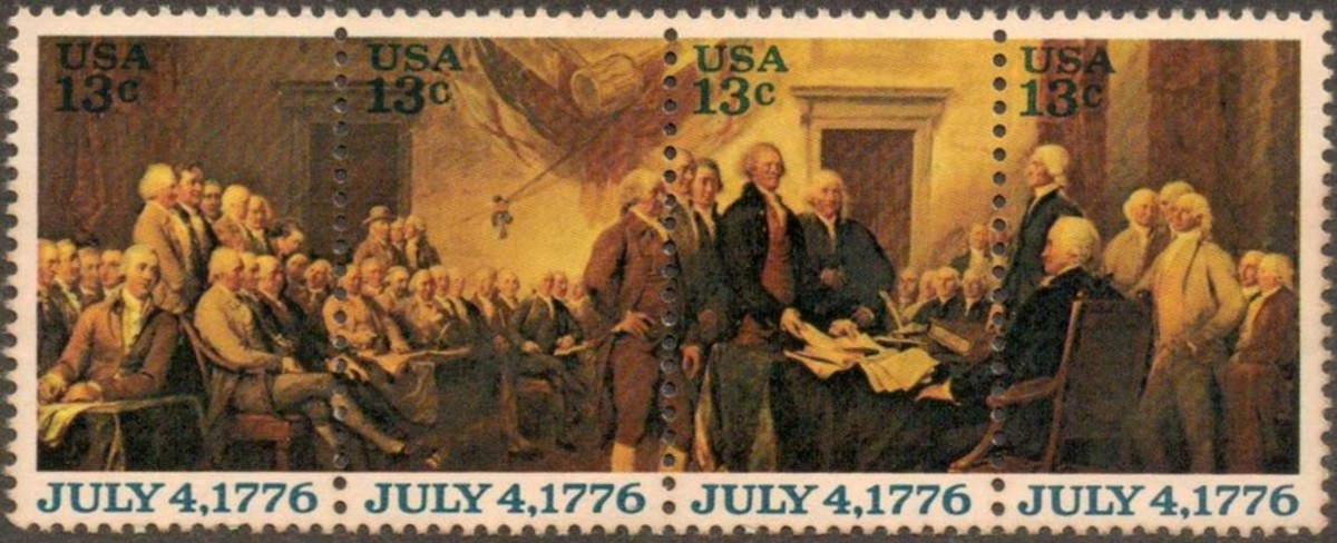 Strip of four 13-cent stamps commemorating the signing of the Declaration of Independence. The stamps were issued as part of the 1976 Bicentennial of America celebration.