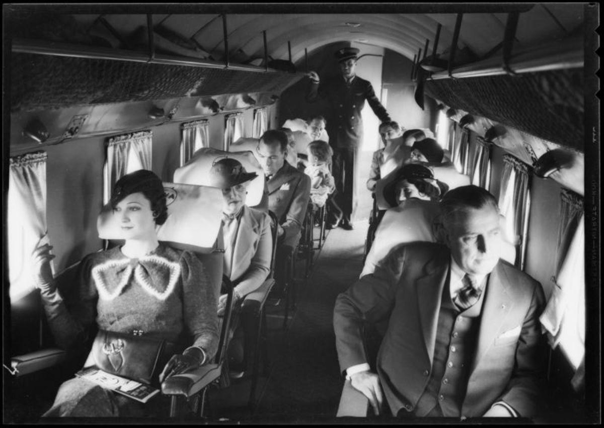 Inside 1930s passenger plane