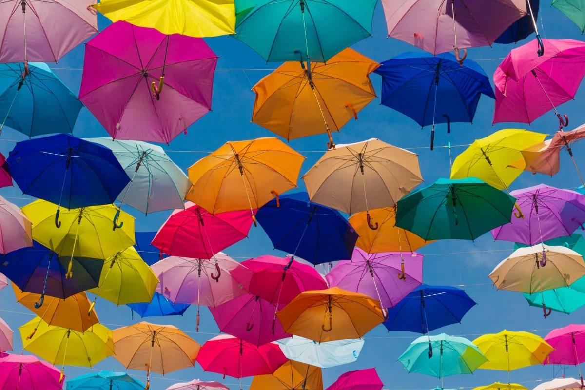 A bunch of umbrellas