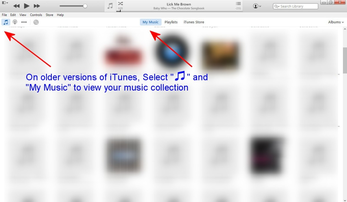 Viewing albums in iTunes on Windows Vista.