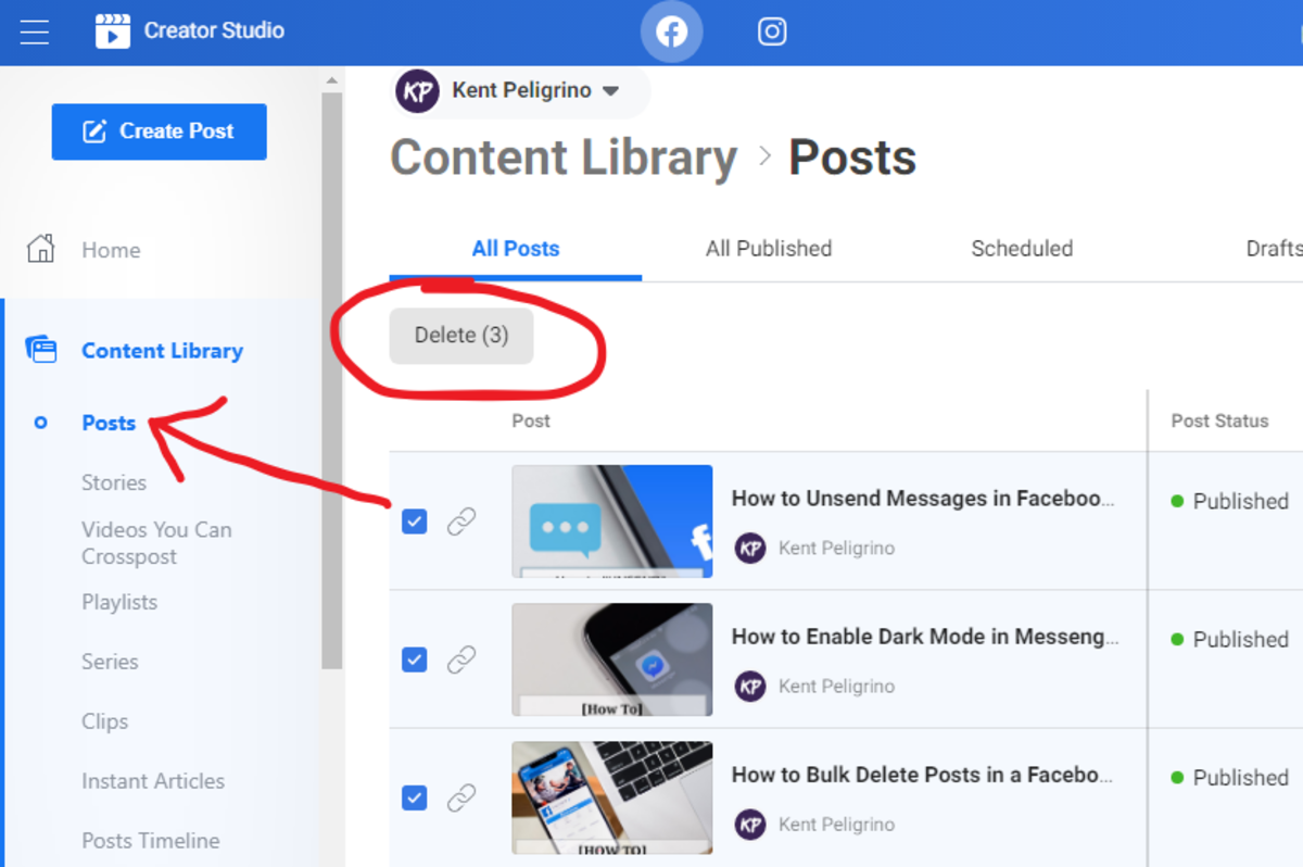 Delete multiple posts at once in a Facebook Page via Creator Studio
