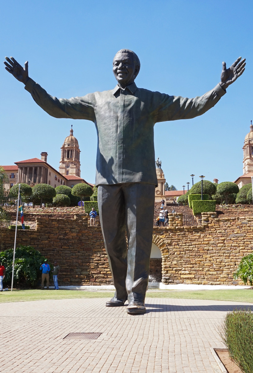 The statue of Nelson Mandela in Pretoria.