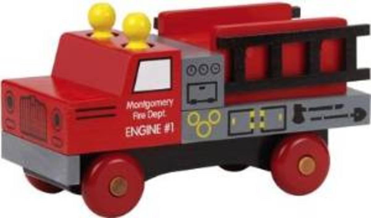 Cool, red and shiny fire truck toy made in USA!