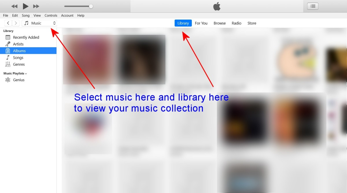 "Viewing albums in iTunes on Windows 10. Choose ""Music"" from the popup menu on the top left of the screen and then click ""Library""."