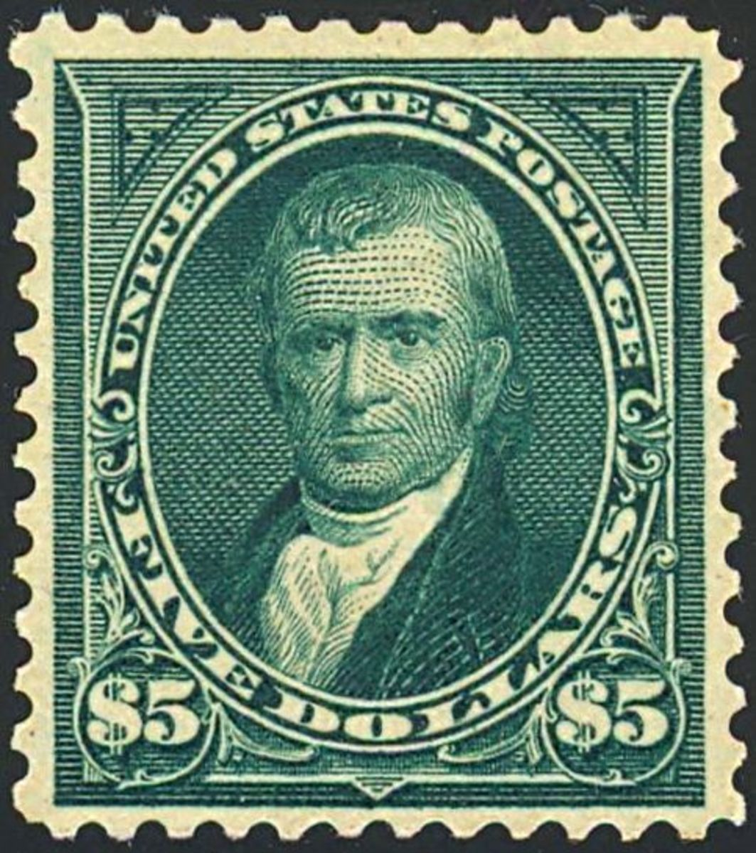 US $5 Postage stamp, John Marshall, 1903 issue.