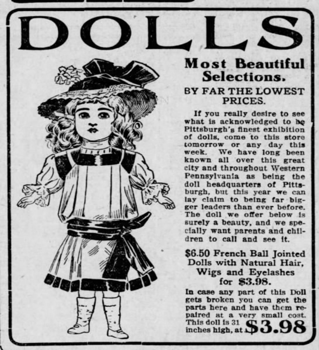 Just imagine, in 1910, you could buy a beautiful doll like this for $3.98. Clipped from The Pittsburgh Press, 18 Dec 1910, Sun, Page 11