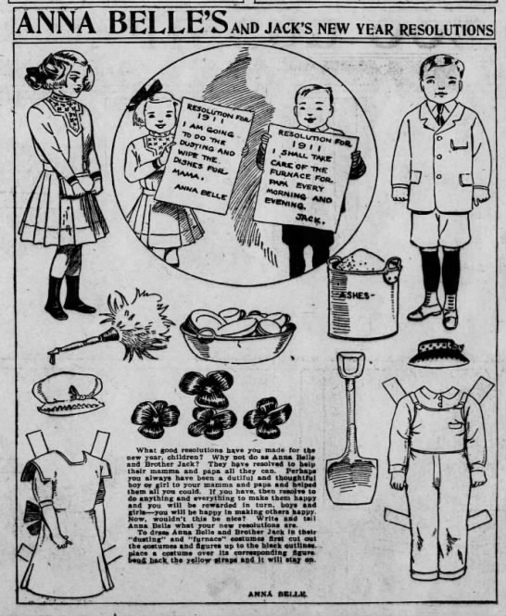 This graphic also shows that paperdolls were played with by children in that era. This is from the Comic Section of the:  The Pittsburgh Press  (Pittsburgh, Pennsylvania) 18 Dec 1910, Sun  • Page 71