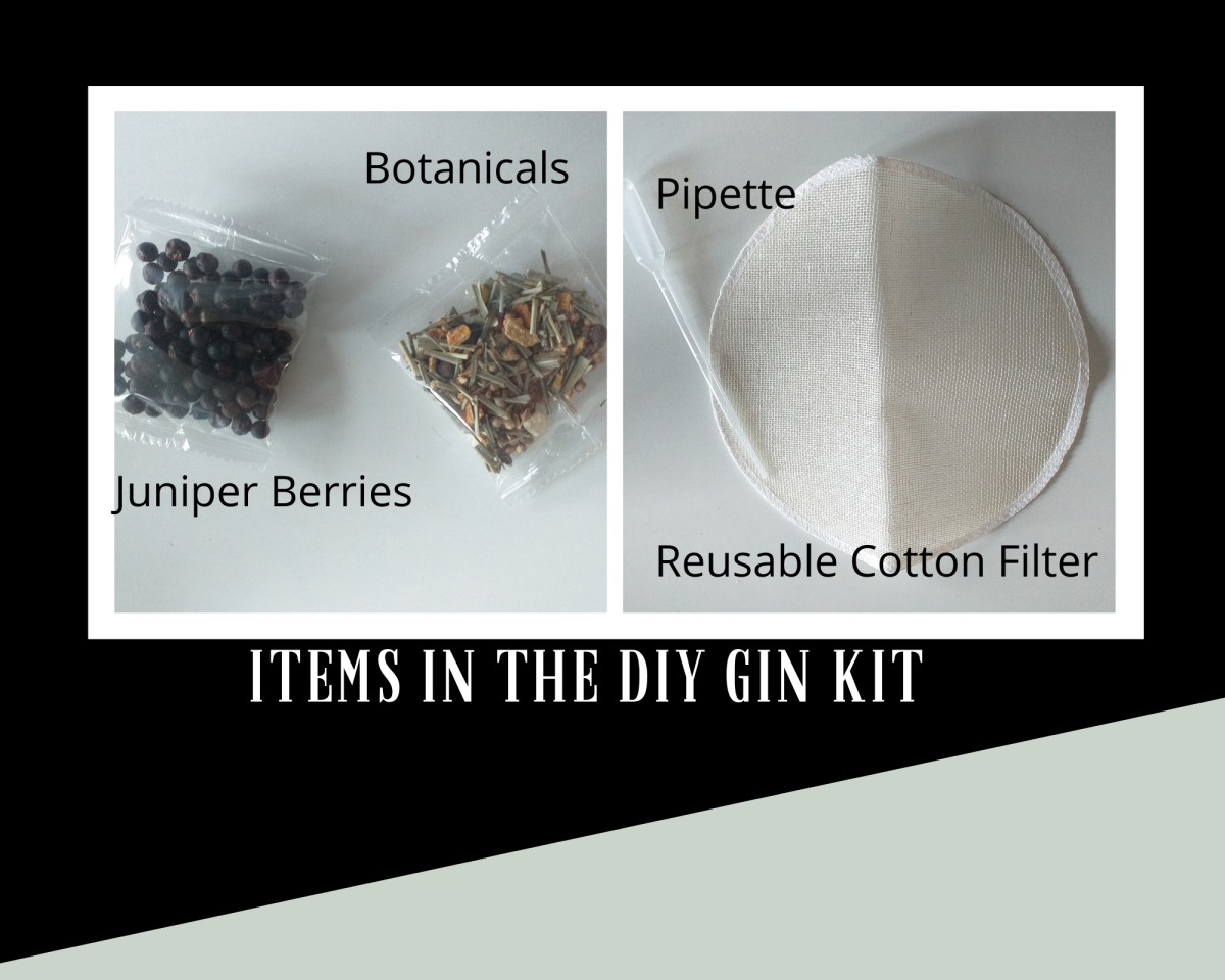 The kit contains juniper berries, botanicals, a cotton filter and a pipette.