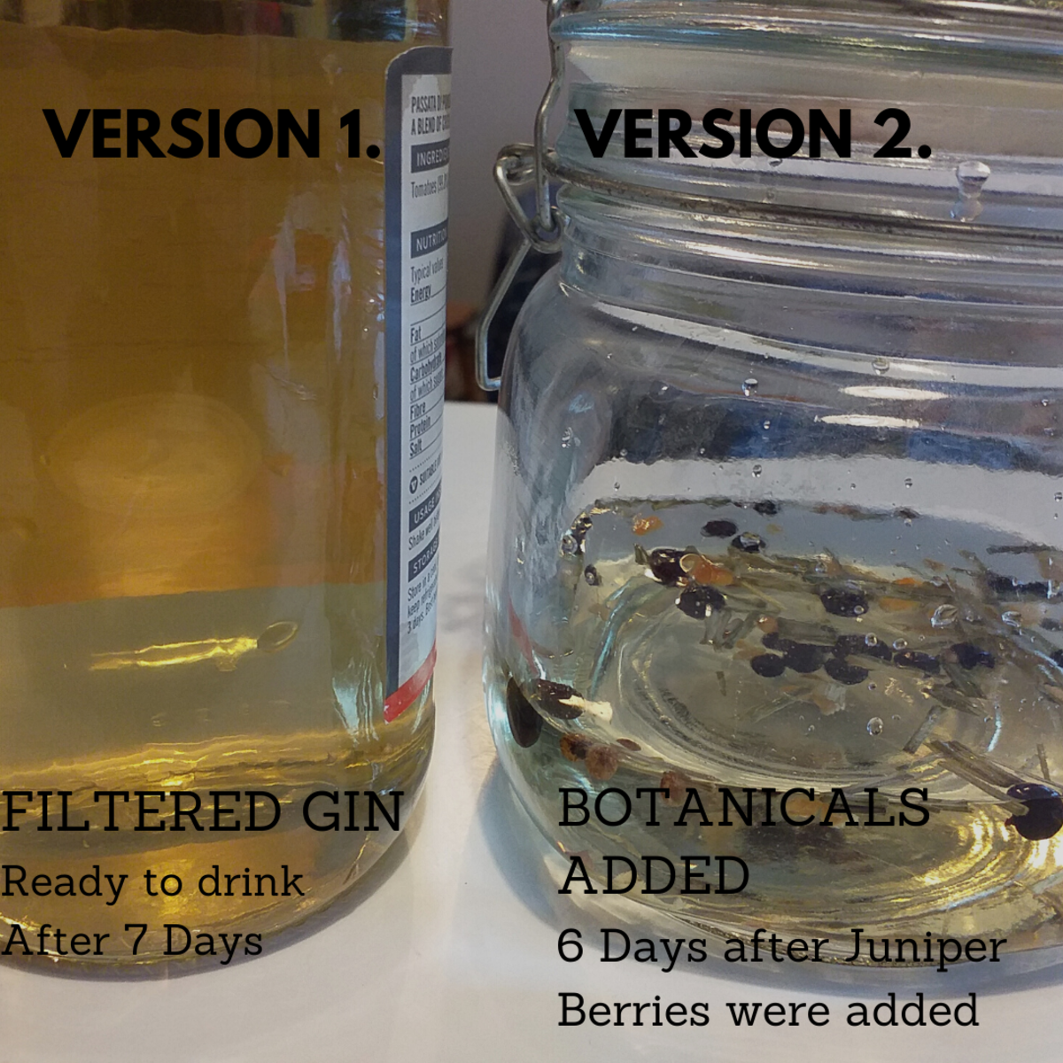 Color comparison between gin 1 which is ready to drink and gin 2 that has another 6 days to ferment.