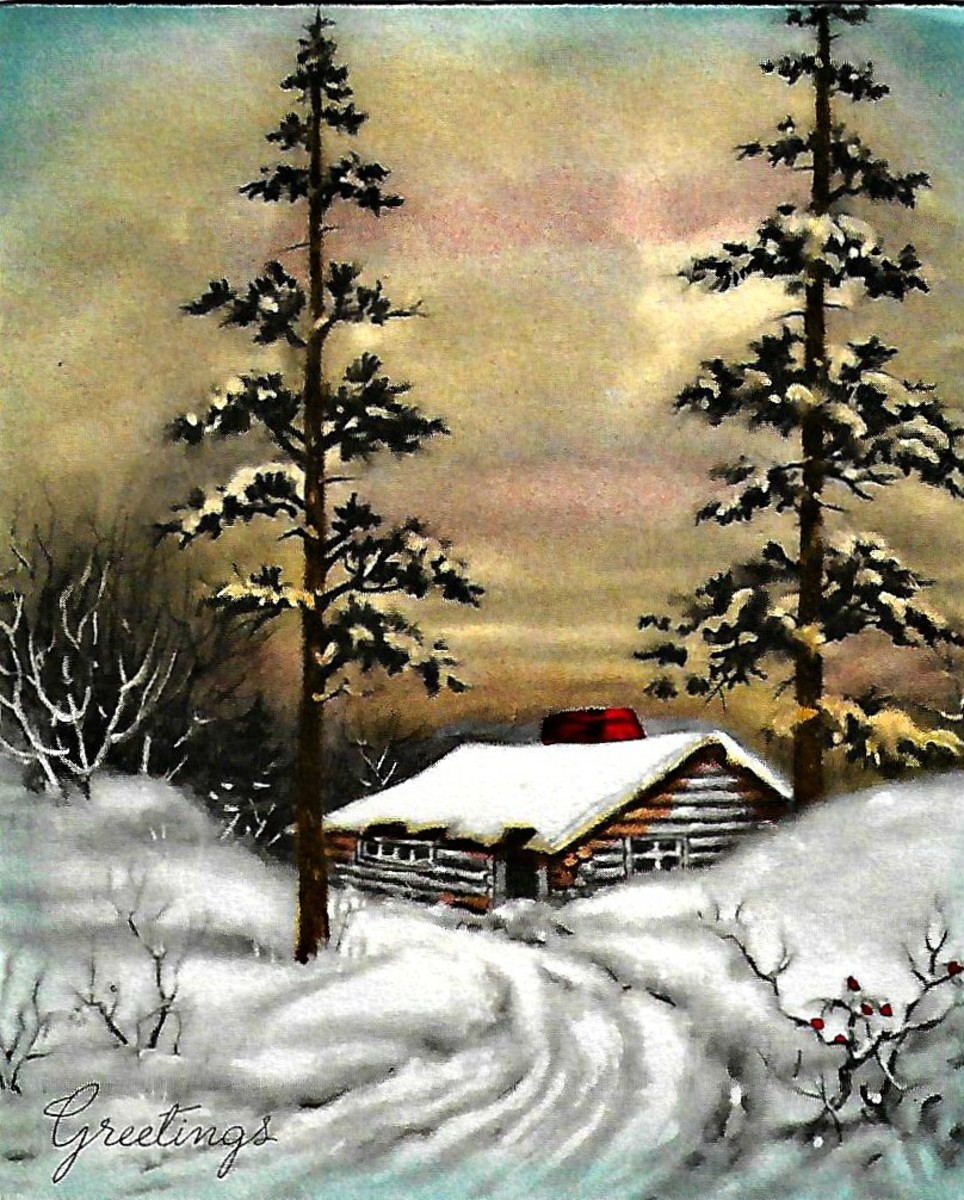 Beautiful Christmas Card with a Peaceful Cabin in the Snow. 1930s Era