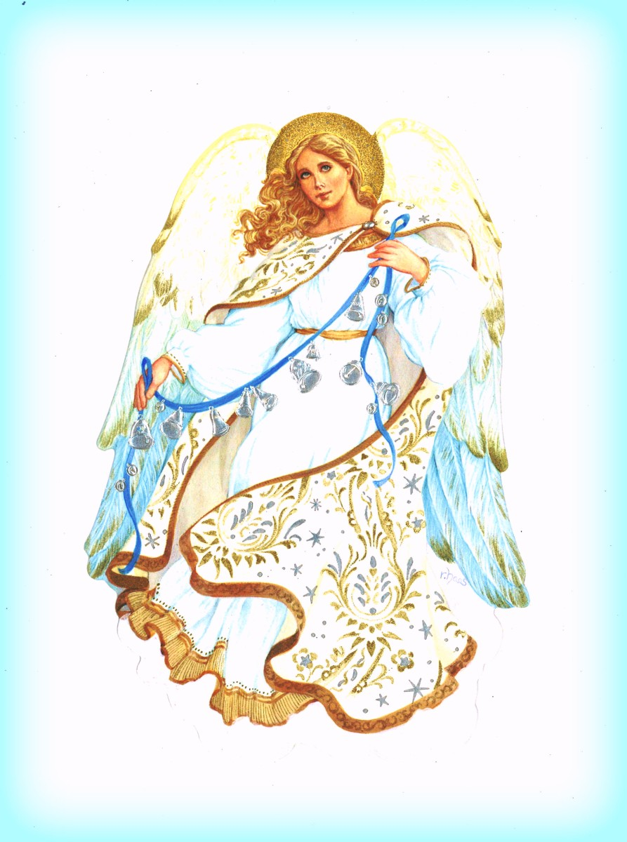 Robert Haas Holiday Traditions Blue and White Angel in a Hallmark Christmas Card Series