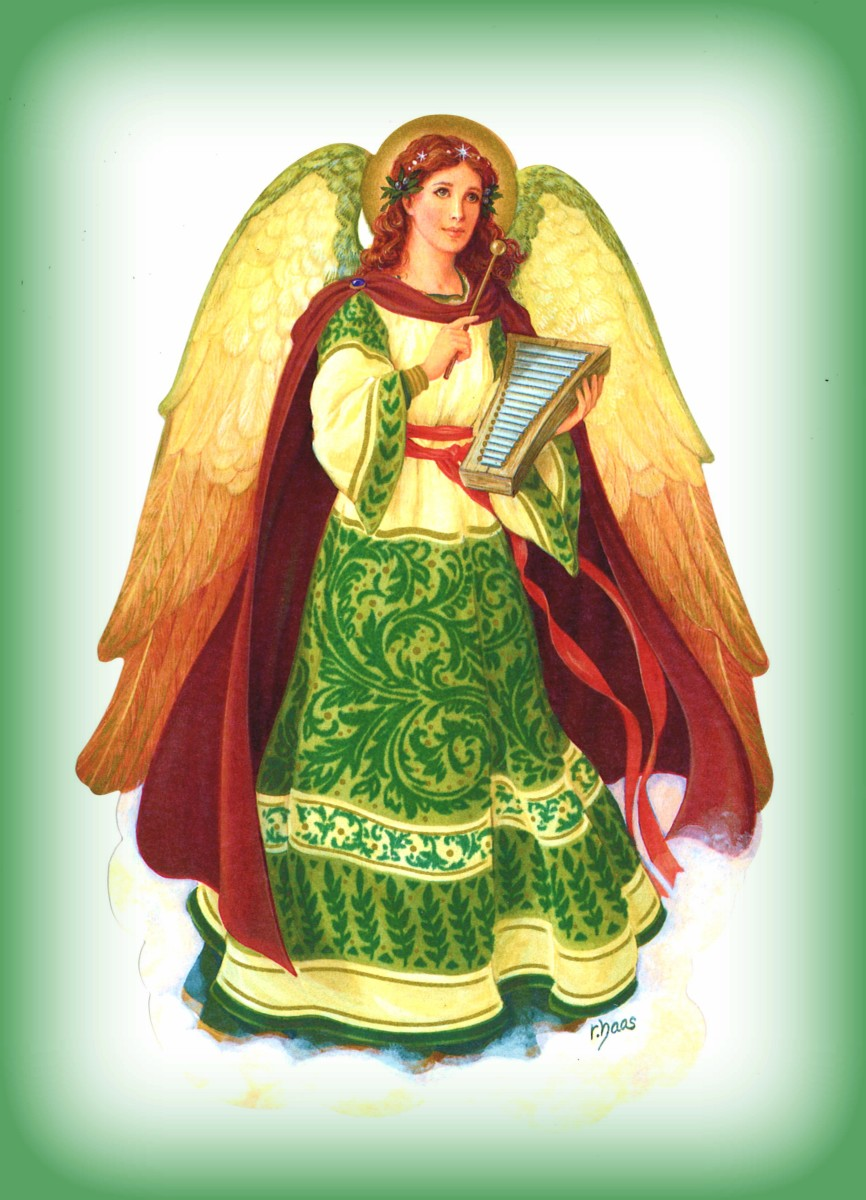 Robert Haas, Holiday Traditions Green and Gold Angel in a Hallmark Christmas Card Series