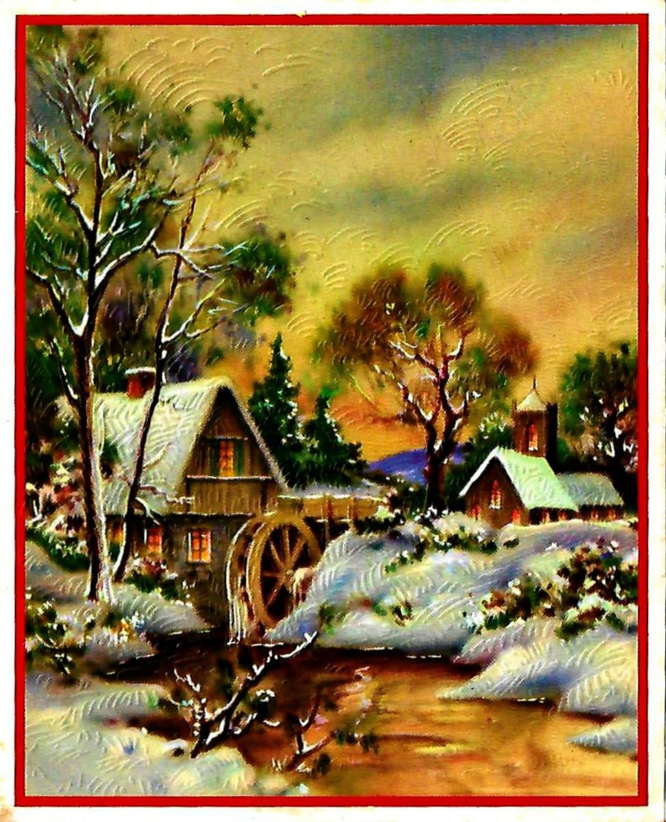 Lovely Christmas Card from the 1930s with a Peaceful Mill in the Winter Snow