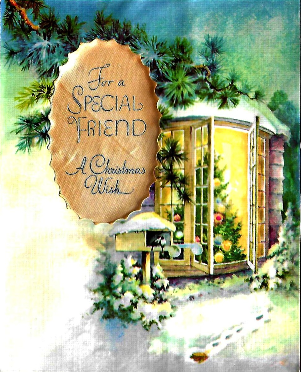 Late 1940s Christmas Card with a Welcoming Heart Warming Display
