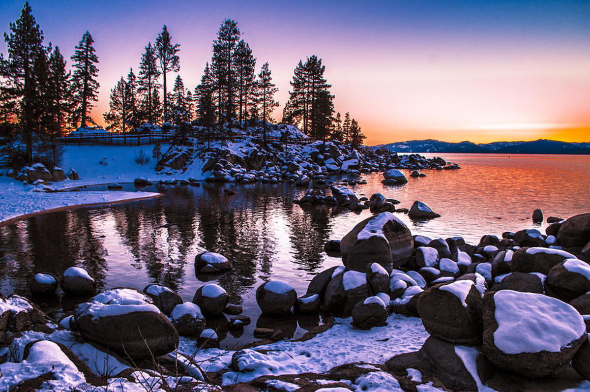 Clear, cobalt blue, and magical Lake Tahoe is a must-see in winter.