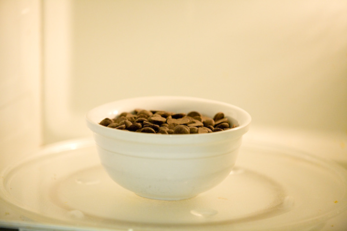 Microwave chocolate chips for 45 seconds on high power.