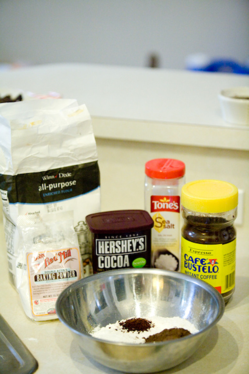 Combine dry ingredients - flour, baking powder, cocoa powder, salt, and espresso powder