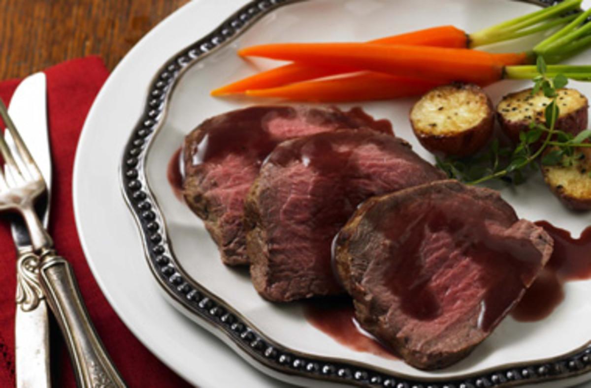 Christmas Eve Dinner:  Roast Tenderloin of Beef with Scallion-Dijon Sauce, Roasted Potatoes, & Glazed Baby Carrots