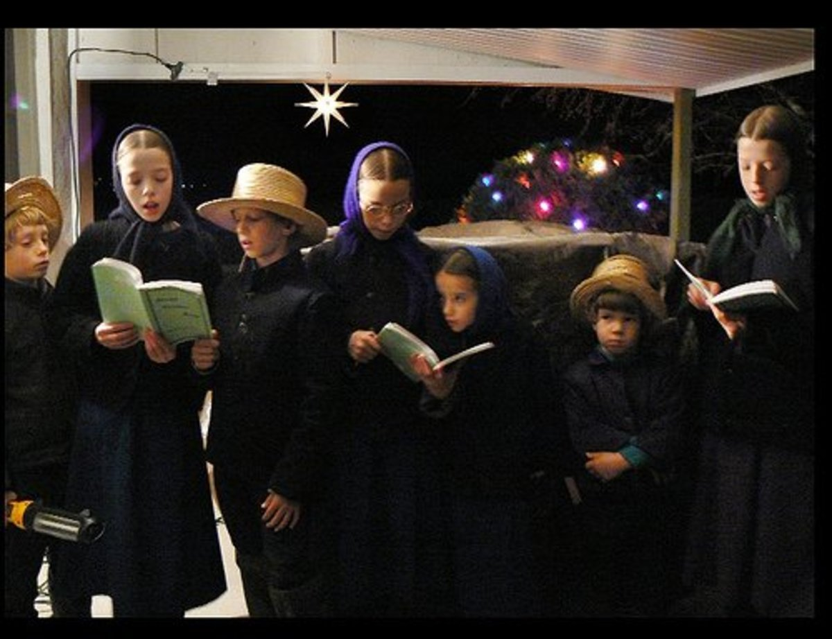 Amish children singing Christmas carols for their non-Amish neighbors. They gave the photographer special permission to take their picture.