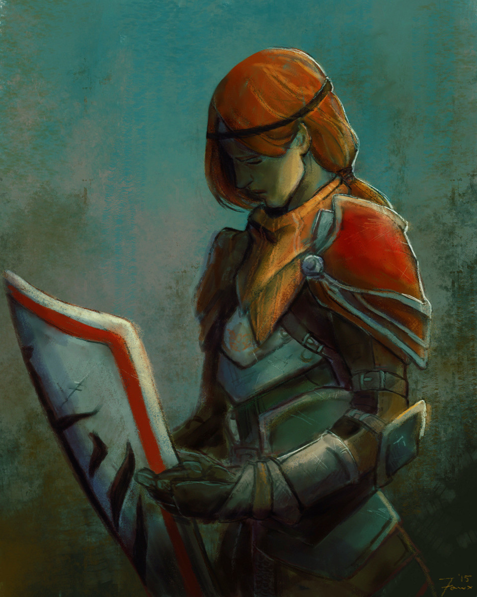Beautiful fan art of Aveline with Wesley's shield.
