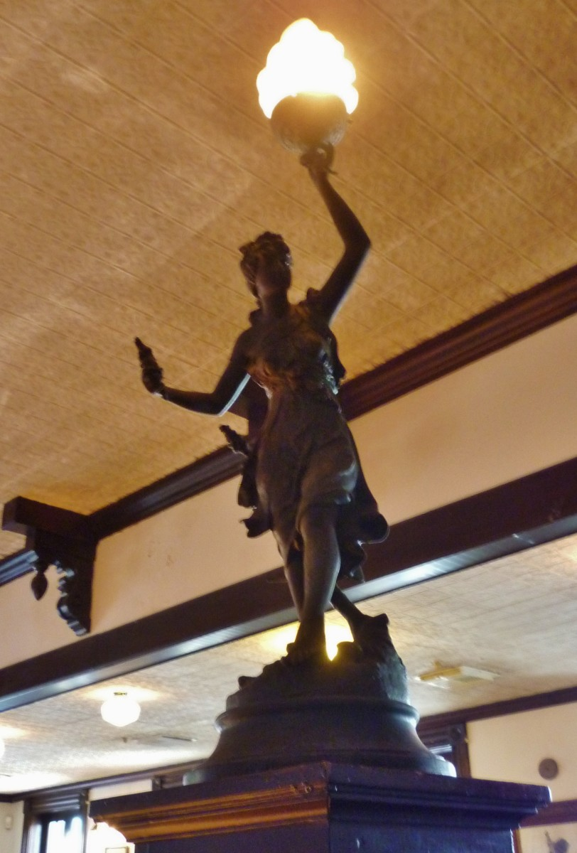 Statue at the top of the stairwell.
