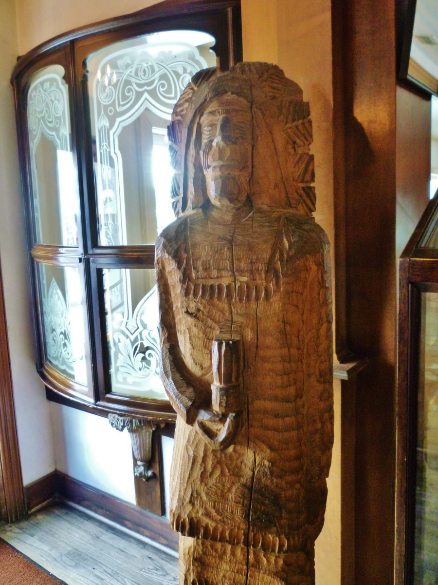 Close-up of the carved wooden Indian