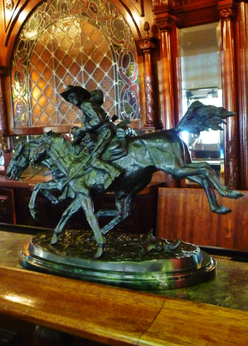 Bronze sculpture at the bar