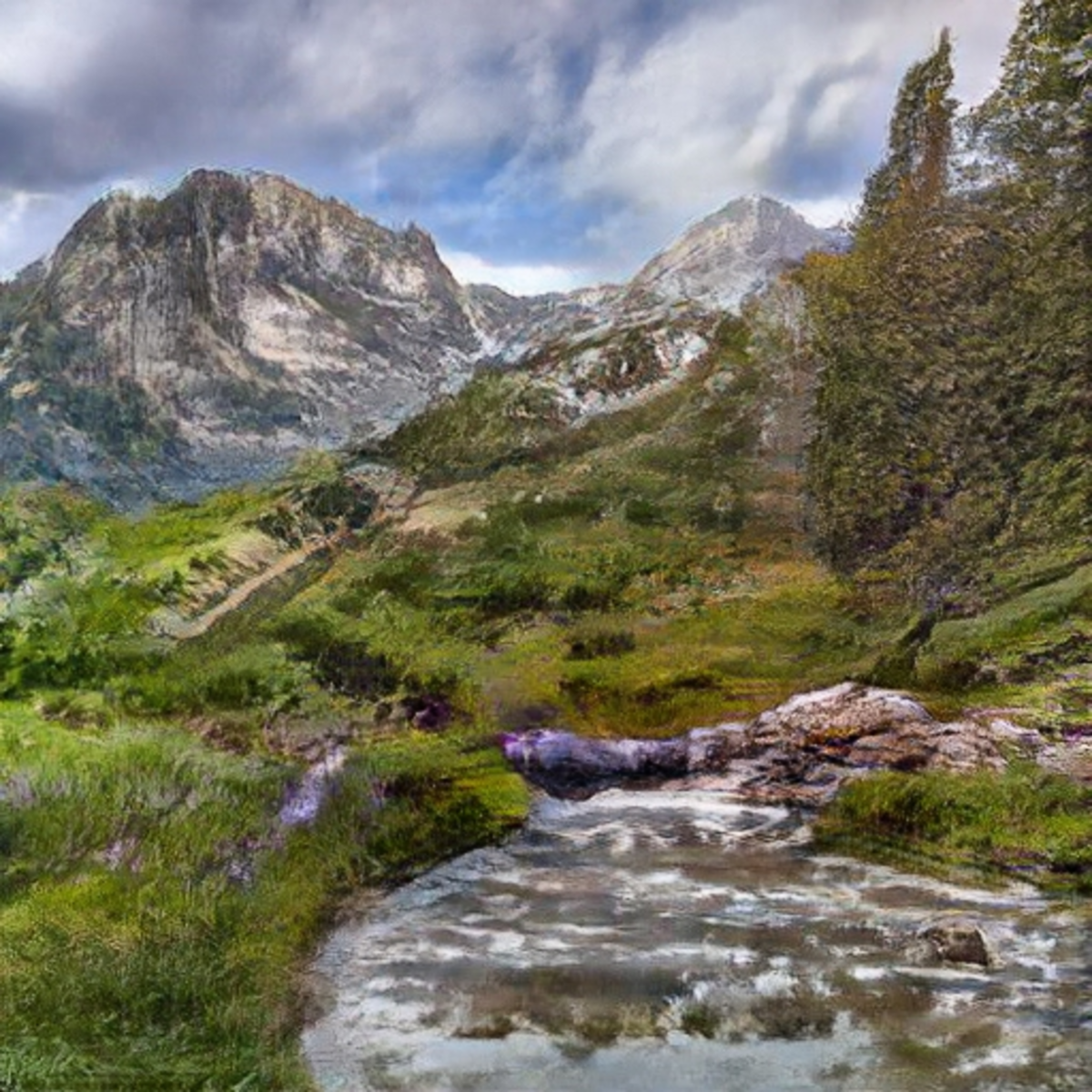 A GauGAN-enhanced 1-minute sketch of a natural scene