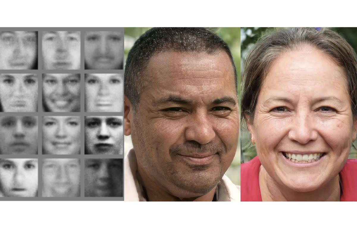 The faces on the left were created by a GAN in 2014; on the right are ones made in 2018. Image: Goodfellow et al; Karras, Laine, Aila / Nvidia