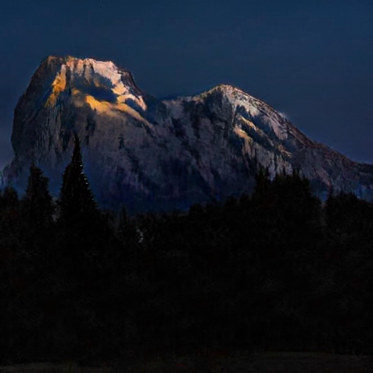 A GauGAN-enhanced 30-second sketch of a mountain