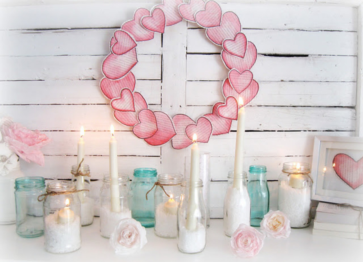 Love mantel Valentine's Day decor