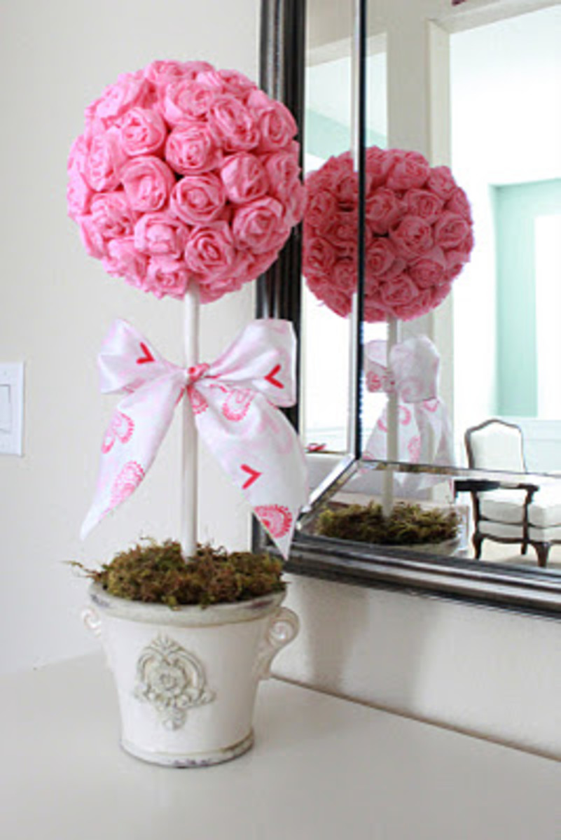 crepe paper rose topiary