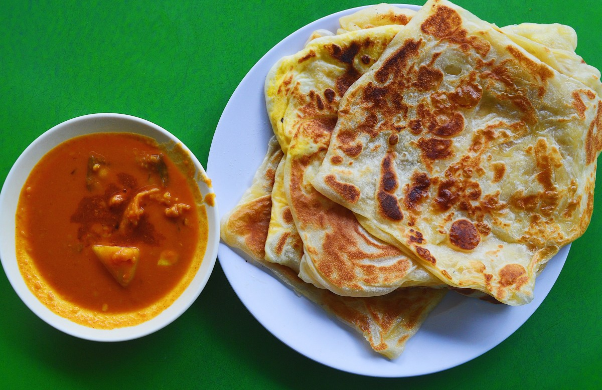 Roti Canai served with a side of curry