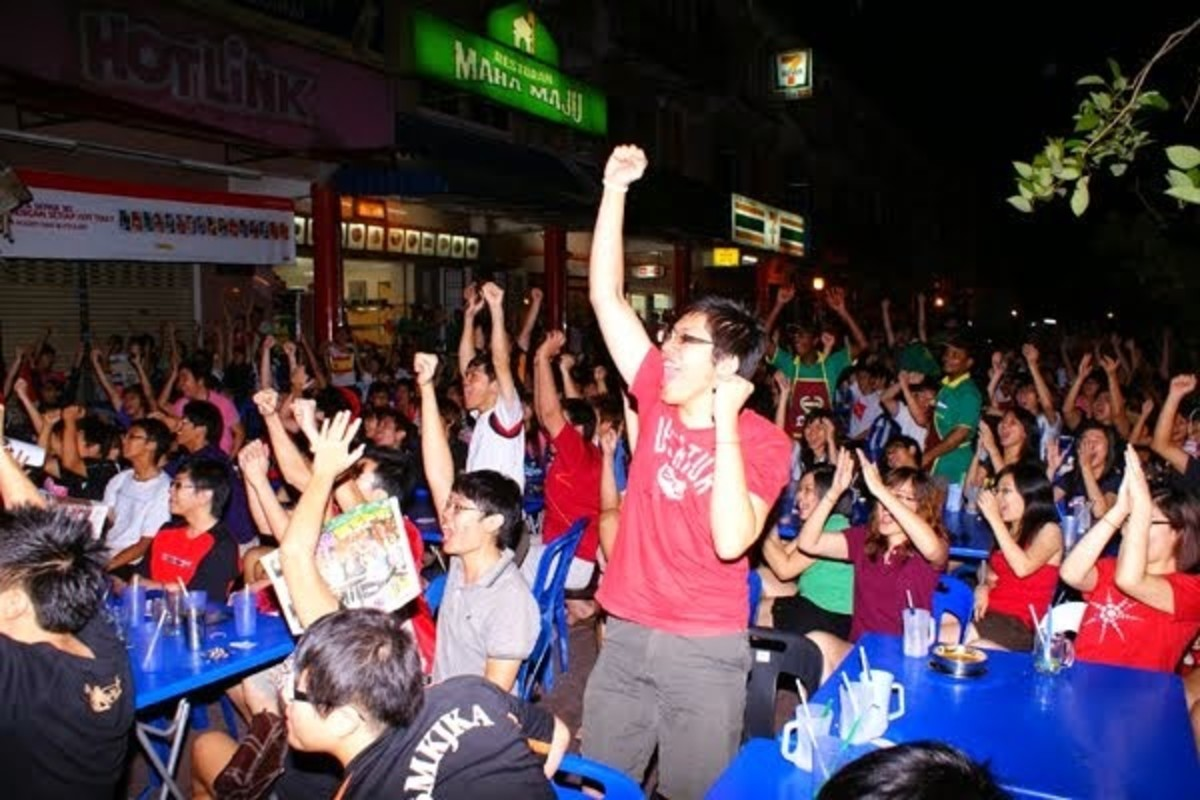 Football Fans of Malaysia celebrating a goal.