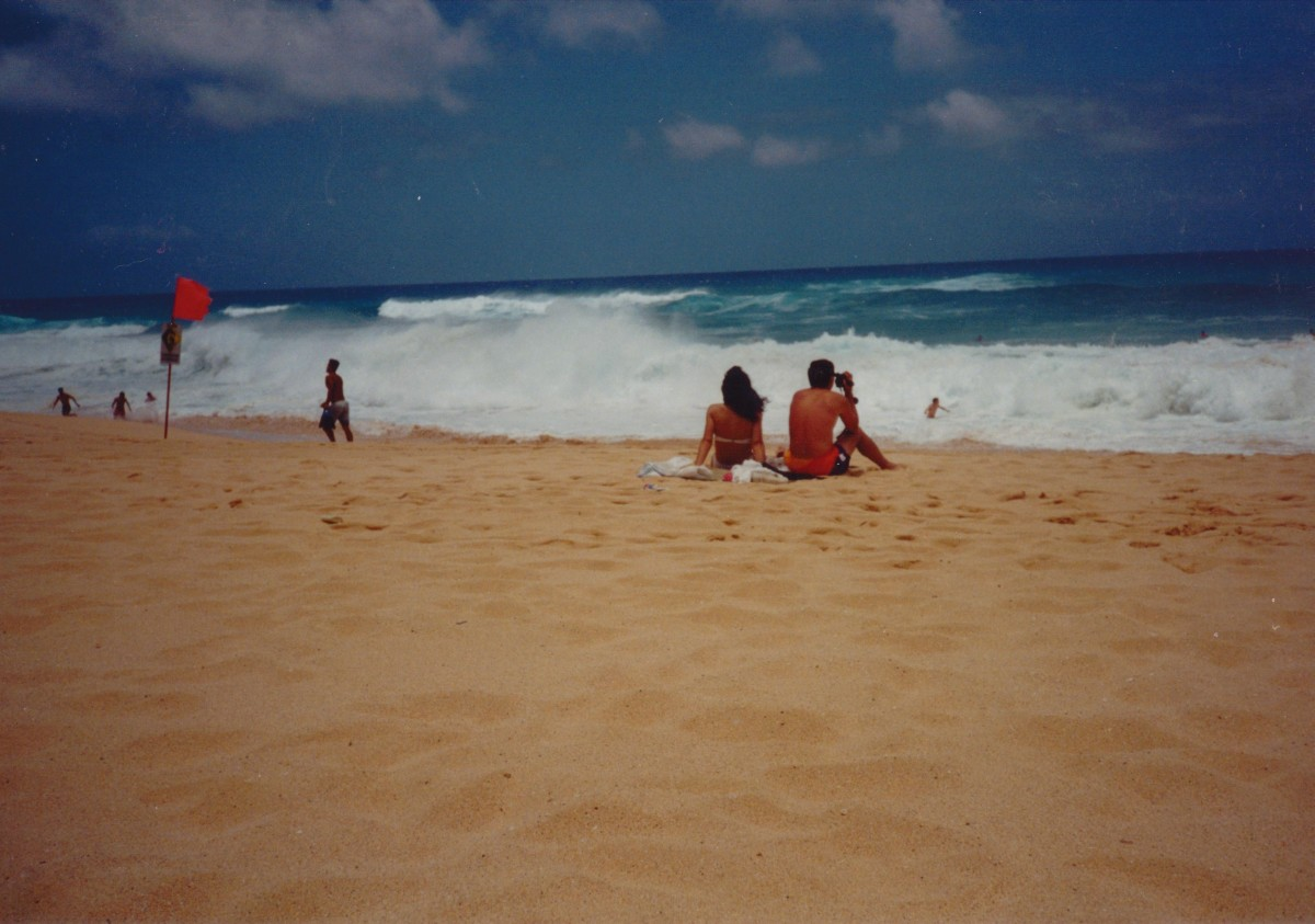 Sandy Beach, Hawaii.  Notice the red warning flag.