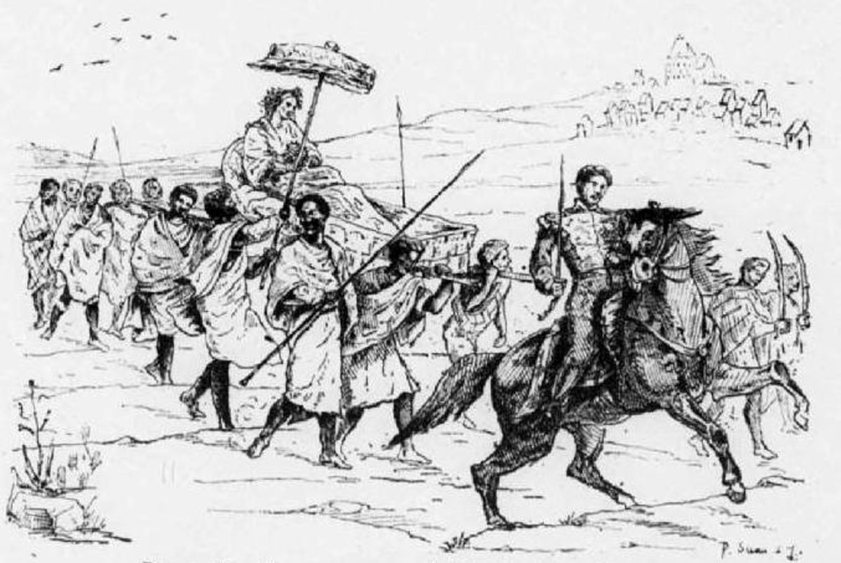 Ranavalona carried on the backs of slaves; her son Rakoto leads on horseback.