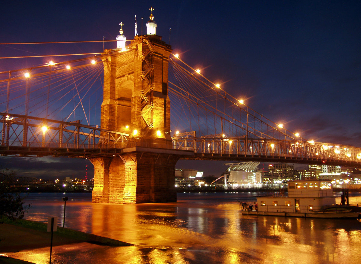 John A. Roebling Suspension Bridge, beside the National Underground Railroad Freedom Center on the Water Front. Union Troops transported men and supplies across the bridge in the 1860s.