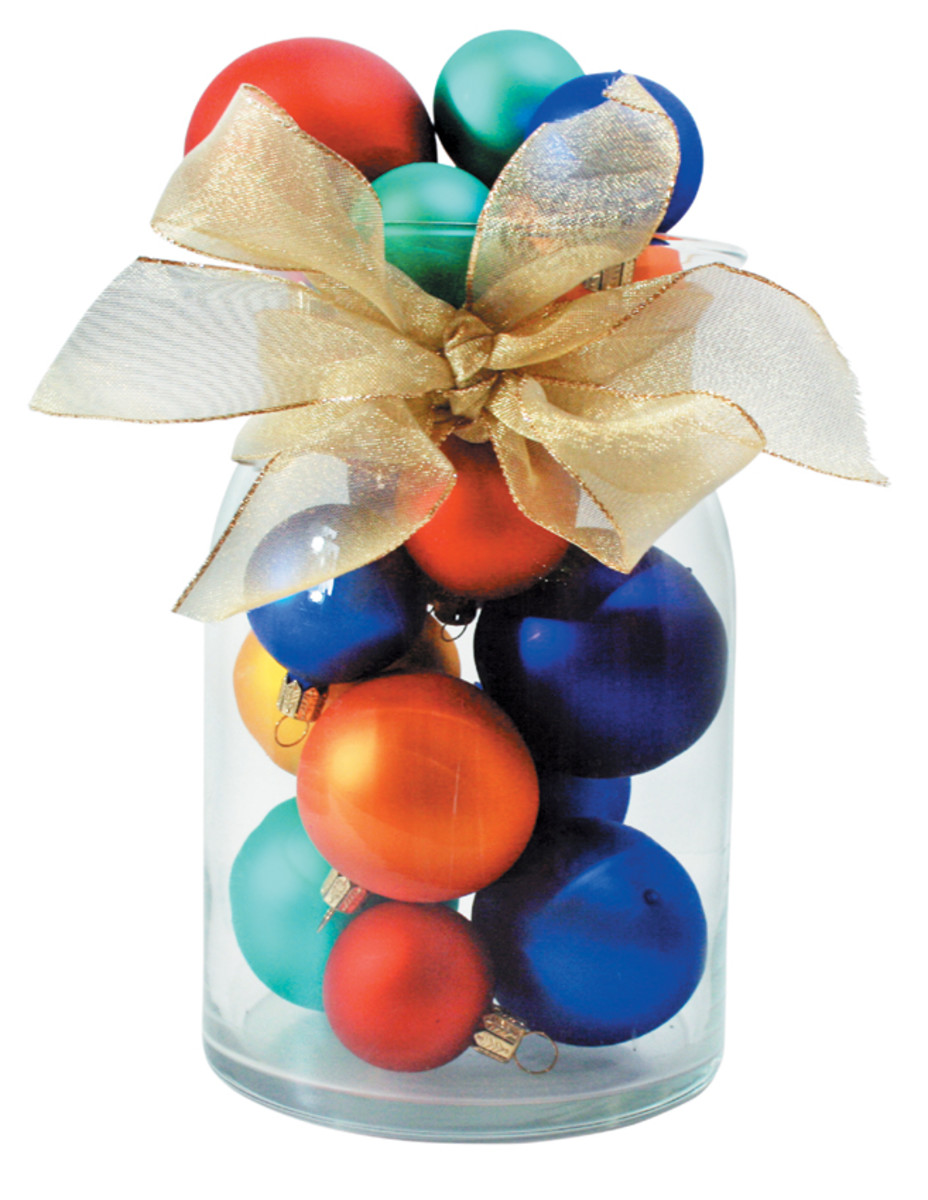 Jars are great to fill with the person's favorite things such as candy, Christmas ornaments or even baking mixes.