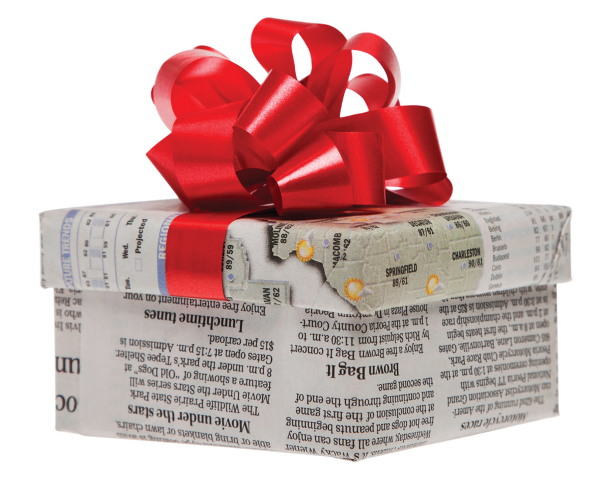 Reuse and recycle old newspapers while adding a great new look to wrapping paper