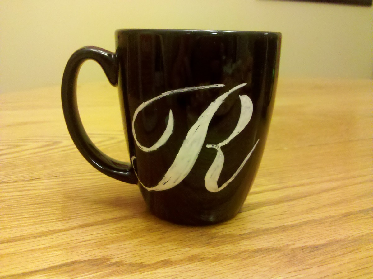 My finished monogrammed coffee mug!
