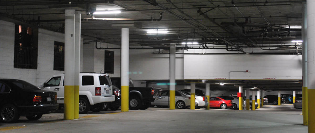 Be careful when you park near beams in  parking garages.