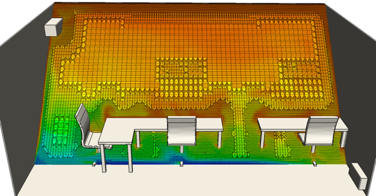 HVAC simulation of air conditioning in an office space