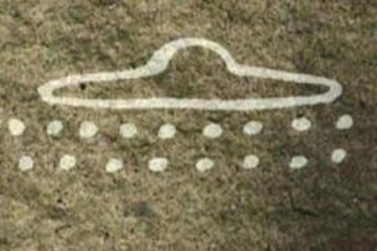 A Paleolithic Cave Painting, Dating to 13,000 B.C in France appears to depict a UFO.