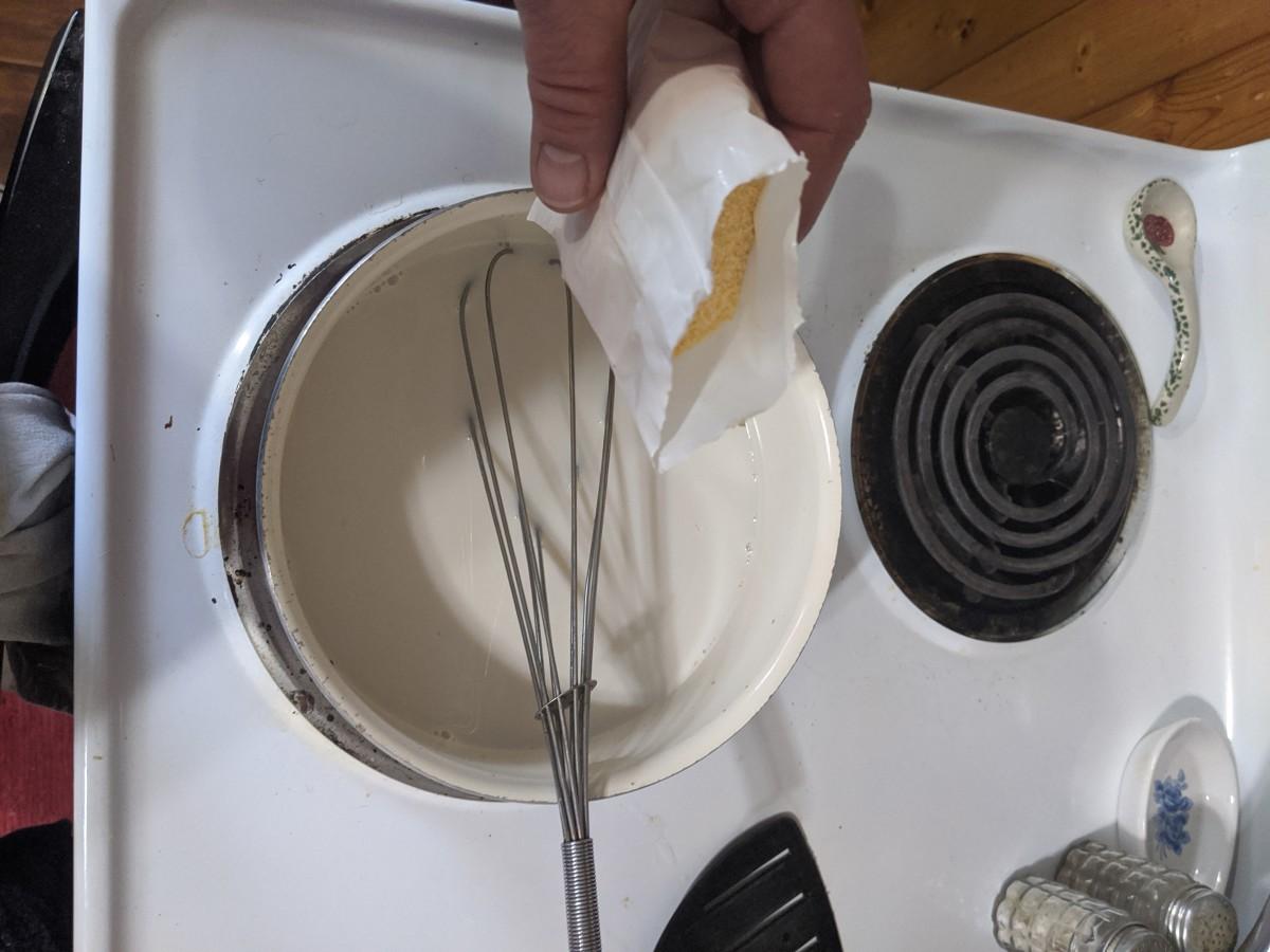 mix custard powder with the milk