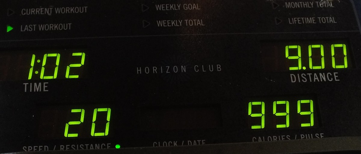 My elliptical trainer display gets stuck at 999 calories most of the time because it only has 3 digits. If I keep trying to improve I can workout for 3 hours.