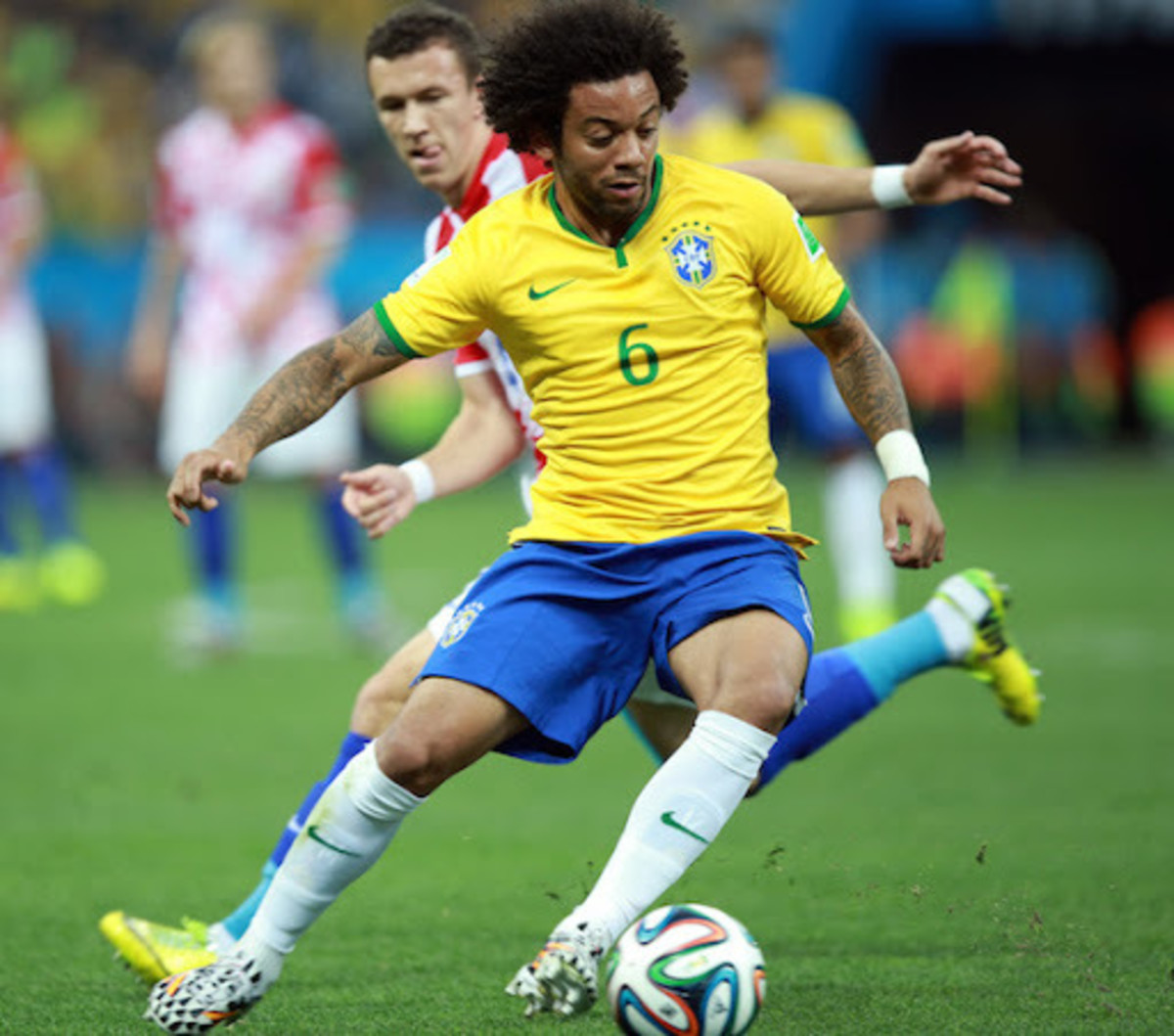 Brazil's right-back in action for the country.