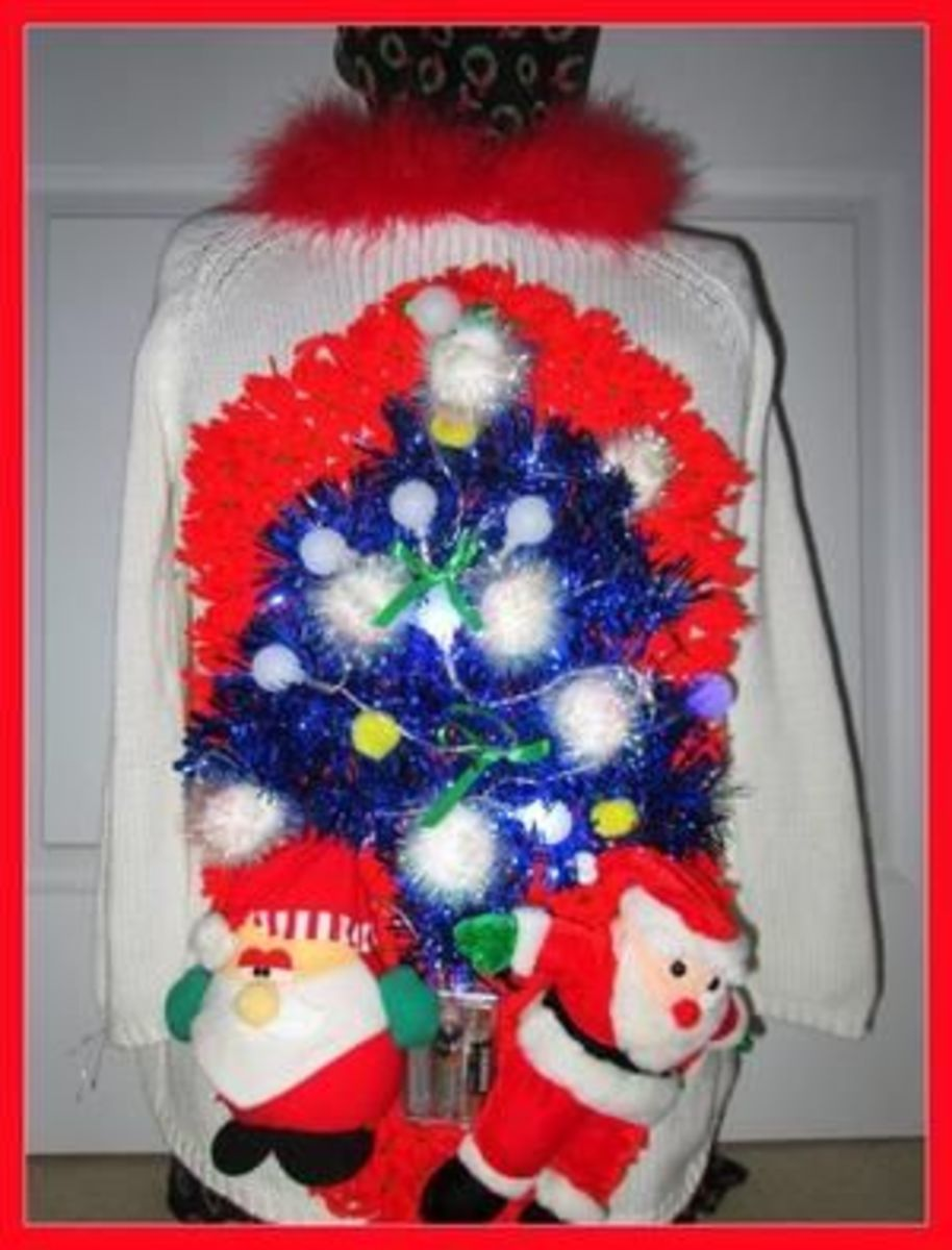 An excellent example of a somehow classy version of a Light Up Foo Foo Christmas Sweater.  Well done!